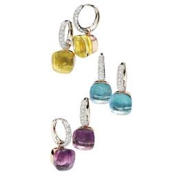2019 brinco de coral queda Classics 22 Cores doces de cristal Gotas de água Estilo Brincos 3 da cor do ouro Brinco Pendente para mulheres moda jóias (DJ1159) SH190930 brinco de coral queda barato