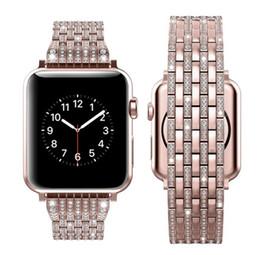 Deutschland Luxus Strass Diamantarmband für Apple Uhr 44mm 42mm 40mm 38mm Edelstahl Metall Uhrenarmband für iWatch Serie 1 2 3 4 Versorgung