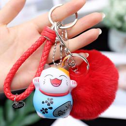 2019 glückliche katze keychain Niedliche glückliche Katze Keychain Pompom-Pelz-Kugel-Schlüsselkette Flaumiger Pompon-Schlüsselring-Taschen-Charme-Schlüsselring Llaveros Chaveiros rabatt glückliche katze keychain