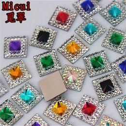 2019 jarrones decorativos de cristal Micui 200 unids 10 mm doble color cuadrado de resina Rhinestone Crystal Stone cuentas flatback para DIY decoración de la boda ZZ753
