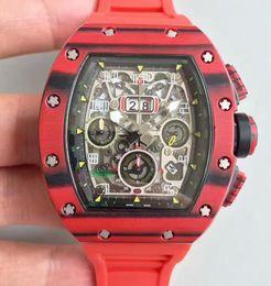 мужчина часы хронограф известные бренды Скидка Известный бренд швейцарский роскошные мужчины ETA 7750 автоматический хронограф часы красный резиновый углеродного волокна дело дата современные мужские наручные часы Рождественский подарок