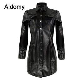 длинные черные топы для женщин Скидка Casual Black Leather Shirt Women Long Sleeve Turn-Down Collar Single-Breasted Blouse Plus Size Clothing Women Tops Office Wear