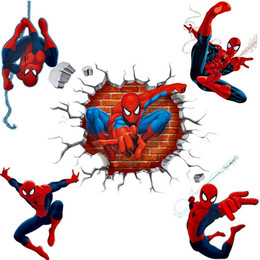 removable wall sticker plane Promo Codes - 3d effect hero spiderman wall stickers for kids rooms nursery home decor cartoon decorative wall decals pvc poster diy mural art
