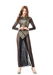 egito sexy Desconto Dia das bruxas Dia Das Mulheres Trajes Sexy A Rainha do Egito Uniforme Gauze Jumpsuit Patchwork Casacos de Ouro Das Mulheres Cosplay
