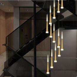 modernos, hotel, entrada, lustres Desconto Modern Staircase Chandelier 85-265V 5 cores disponíveis Meteor Shower Chandelier Lobby para uma vida de jantar Pendant Chandelier Lamp