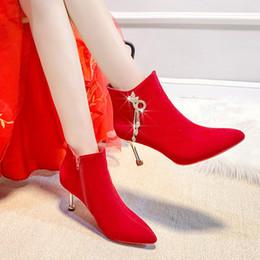 Scarpe rosse online-Scarpe di gomma della Red donna Calzari Crystal White Stivaletti Women Rain Boots donne-Inverno Calzature Zipper strass Min Max