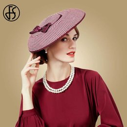 2019 chapéus de vestido formal para mulheres FS Fascinator Chapéus Para As Mulheres Houndstooth Vermelho Preto Bowknot Felt Hat Pillbox Cocktail Formal Vestido De Noiva Chapeau Fedoras chapéus de vestido formal para mulheres barato