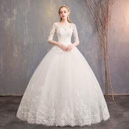 vestidos brancos pretos da recepção de casamento Desconto Casamento vestidos meia luva O decote do vestido de casamento Plus Size até o chão laço branco elegantes vestidos DHHLZS040