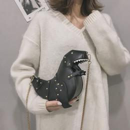 saco de vagão caqui Desconto Mulheres Cadeia Bolsa De Ombro Presente De Dinossauro Projeto Couro Mini Messenger Bag