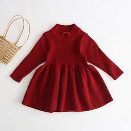 Principessa gonne occidentale online-2019 Gonna manica lunga ragazze di autunno abito in maglia Western Princess magliata Dress Baby Baby