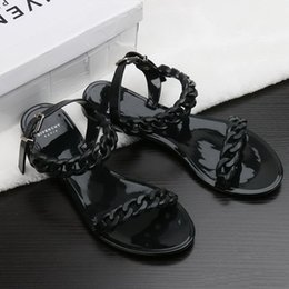 sandals woman hot Coupons - Hot Sale-new plastic chain beach shoes candy color jelly sandals chain flat bottomed out sandals Europe and the United States