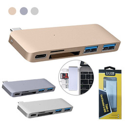 2019 accesorios de aluminio de china Multifuncional 5 en 1 USB C Hub a Dual USB 3.0 Video HD SD TF Lector de tarjetas Tipo C Adaptador para MacBook