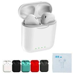 Auriculares para teléfonos celulares online-i88 TWS Auriculares Bluetooth Teléfono celular Auriculares Inalámbrico 5.0 Auricular Control táctil Estuche de carga de sonido envolvente 3D para smartphone