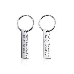 Parejas Llaveros de aleación de color plateado Un par de ustedes son The Watson To My Sherlock Lettering Lucky Keychain For Lovers 'Gift Key Ring desde fabricantes