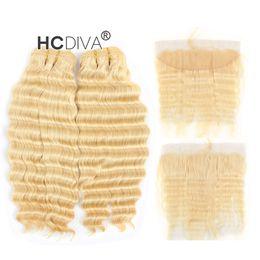 Malezya Bakire Derin Dalga 613 Sarışın Bundle Saç Dantel Frontal ile 13 * 4 inç Derin Curl Bal Sarışın İnsan Saç Uzantıları cheap virgin hair blonde deep wave nereden bakire saç sarışın derin dalga tedarikçiler