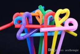 art de paille en plastique Promotion Matières plastiques à usage unique en gros Paille coloré Pailles Art Modeling fou Straws 600pcs / lot Livraison gratuite
