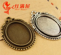 Oval cameo cabochon on-line-A3772 27 * 40 MM Fit 25 * 18 MM Antique Bronze oval de estampagem de metal blanks, tibetano prata moldura pingente base bandeja, cameo cabochon configuração