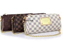 Mulheres de couro velho saco on-line-Saco de Embreagem das mulheres Clássico Velho Flor Checkerboard Cadeia Flip Bag PU Saco de Ombro de Couro Lungado Bolsa Feminina L811 + P ...