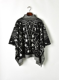 Milan Runway Sweater 2019 New Black White Stars Moon Cloak Designer Dolcevita maniche lunghe Pullover Womens 903003 da