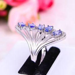 Крыло онлайн-Uloveido 5pcs Blue Tanzanite Gemstone Statement Ring, 925 Sterling Silver Wing Ring for Women Anniversary Ring 28%off FJ280