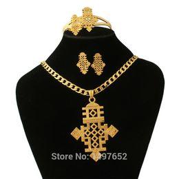 2019 jóia presente de ouro rosa 24k Chegada Nova etíope conjuntos de jóias Moda Jewelry18k Cruz do ouro Cor Define nupcial Africano jóia do casamento grátis