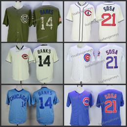 Erkek 14 Ernie Banks 21 Sammy Sosa Beyzbol Formalar Ev Uzakta Yol Işlemeli mavi beyaz gri altın camo Dikişli beyzbol forması supplier sosa jersey nereden sosa jersey tedarikçiler