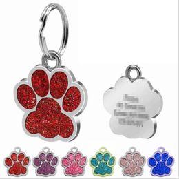acciaio inossidabile all'ingrosso inciso Sconti Medagliette per cani personalizzate Gatto inciso Cucciolo di animale domestico Nome collare Tag Ciondolo Accessori per animali Bone / Paw Glitter
