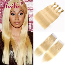 human hair weave honey blonde Promo Codes - RUIYU 613 Blonde Bundles With Closure Brazilian Remy Straight Human Hair Weave Bundles With Closure 613 Honey Blonde Hair Wefts Extensions