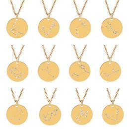 Зодиакальные чокеры онлайн-Золотой Цвет Знак Зодиака Звезды 12 Созвездие Ожерелья Подвески Колье Ожерелья для Женщин Длинное Ожерелье Цепи Bijoux Femme