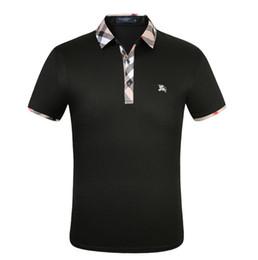 Herren weißes schwarzes hemd online-Herren Kurzarm Medus Polo Shirt Fashion Print Slim Fit Polo mit weißer Stickerei Bee Tiger Casual Schwarz Poloshirt