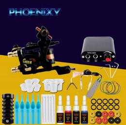 Kits de tatuaje online-Juego completo de kits de máquina de tatuaje 1 bobinas Pistolas 4 colores Conjuntos de pigmentos negros Juegos de empuñaduras para principiantes de Power Tatoo Maquillaje permanente