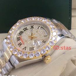 Día del oro Fecha Presidente Automático 2813 Gran diamante Iced Out Luxury Business Mens Designer Relojes Hombres Relojes de pulsera desde fabricantes