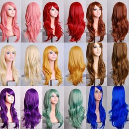 Perucas de cabelo cosplay loira on-line-70 CM Onda Solta Perucas Sintéticas para as mulheres negras Cosplay peruca Loira Azul Vermelho Rosa Cinza Roxo cabelo para festa humana