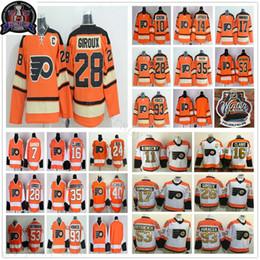 camisola clássica do hóquei do inverno alaranjado Desconto 2012 Heritage laranja Inverno clássico Philadelphia Flyers Hockey Jersey Kris Versteeg Sean Couturier Sergei Bobrovsky Jakub Voráček Simmonds