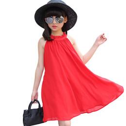 Sem mangas vestidos de chiffon preto para 3-14 anos baby girls roupas de verão coreano elegante simples solto um pouco meninas vestido de praia supplier korean black dress chiffon de Fornecedores de chiffon chiffon preto coreano