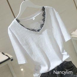 Deutschland Sommer Baumwolle T-Shirt Frauen 2019 neue koreanische Slub Baumwolle T-Shirt Dame Pure White Kurzarm Spitze Stitching V-Kragen Hemd Tops cheap korean women lace cotton t shirt Versorgung