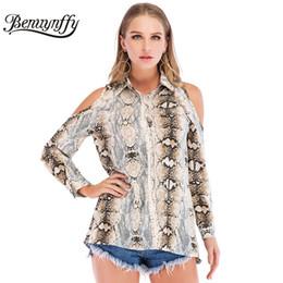 Benuynffy Cold Shoulder Serpent Imprimé Peau Chemise Femmes Highstreet Turn Down Col Tops Femme Casual Chemises À Manches Longues ? partir de fabricateur