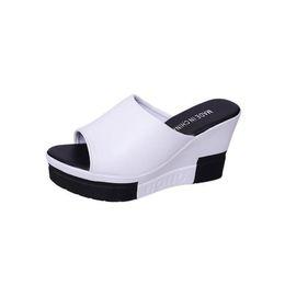 f663c6cfc3e6c Thick-Bottom Sloped Women Slippers Summer 2019 Fashion Tide Slides Women  High-Heeled Wedges Platform Sandals Flip Flop Femme Increased 9CM