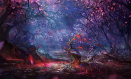 Seidenfee online-Märchen Fantasy Enchanted Forest Art Silk Print Poster 24x36 Zoll (60x90 cm) 088