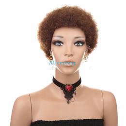 Perucas de cabelo humano afro curto on-line-Cabelo humano brasileiro curto afro encaracolado perucas máquina de cor natural made kinky curly perucas para mulheres negras
