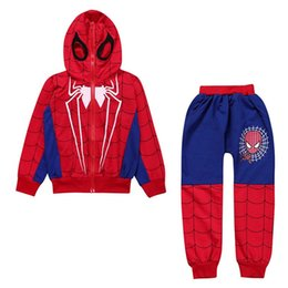 crystal hoodies Coupons - Free DHL Stylish Child Kids Boys Spiderman Tracksuits Sleeveless Hoodies+Pants 2pieces Suits Autumn INS Childdren Boys Clothing Sets