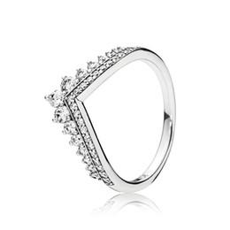 boîte à souhaits en argent Promotion CZ Diamant Anneaux De Couronne De Mariage définit Original Box pour Pandora 925 En Argent Sterling Princesse Wish Ring Femmes luxe designer bijoux