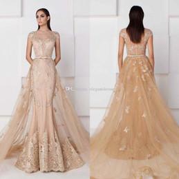 Vestiti di kobeisy sapone online-Saiid Kobeisy Champagne Mermaid Prom Dresses con treno staccabile manica corta abito da sera applique abiti da sera abiti celebrità spettacolo