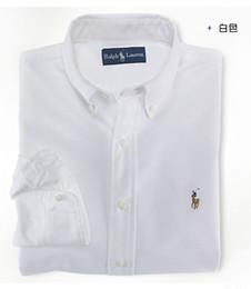 серые рубашки поло Скидка Новый роскошный поло старший дизайнер мужская с длинными рукавами рубашки джинсовый стиль рубашки поло по rahpl La рубашки синий белый серый
