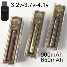 2019 batteria della penna a vape variabile della vape Brass Knuckles batteria 900mAh 650mAh Oro Legno tensione variabile della batteria di preriscaldamento Batterie 510 Batterie discussione Vape Pen Spesso olio vaporizzatore