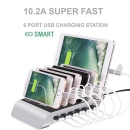 2019 gerätestationen Handy-Ladegeräte 10.2A 6 Port USB-Ladestation Universal Desktop Tablet Smartphone Multi-Geräte-Hub Charging Dock rabatt gerätestationen