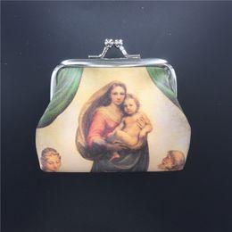 Pintura a óleo christ on-line-PU Moeda Bolsa Van Gogh Pintura A Óleo Saco Criativo Virgem Maria Jesus Cristo Saco Da Moeda Religiosa ST310