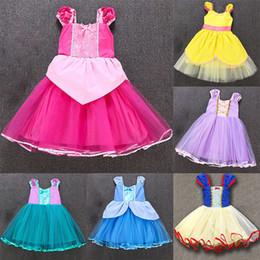 Neonata vestirsi vestiti online-Ragazza Principessa Rapunzel Costume Baby Costume Party Dress Up Per Halloween Natale Compleanno Bambini Bambini Pizzo Abiti da festa WX9-1538