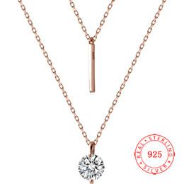 Cadena corta de oro diseña mujeres online-Moda genuina plata de ley 925 6 mm ronda CZ Bar diseño collar de cadena corta elegante chapado en oro rosa joyería para mujer