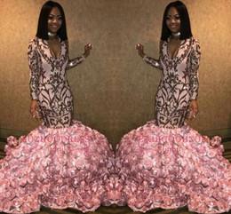 3b332b10a0db lunghi abiti neri rosa Sconti African Black Girls Pink Mermaid Prom Dresses lungo  2019 Maniche lunghe